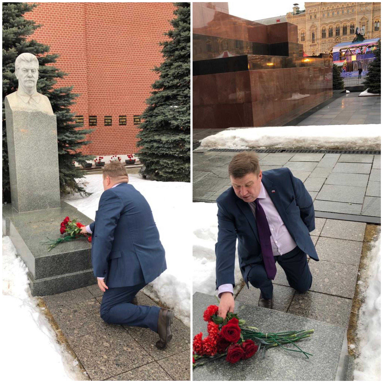 Возложение цветов Сталину